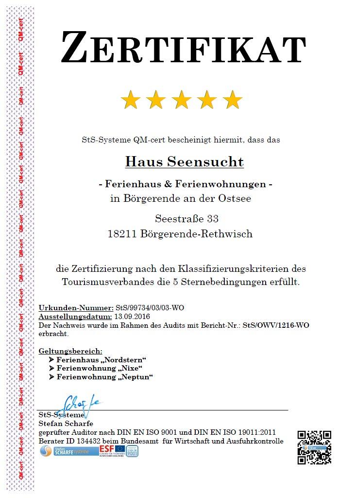 Zertifikat 5-Sterne